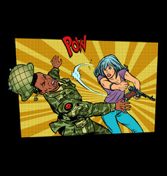 Woman vs man civil beats invader military soldier vector