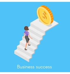 Isometric concept of business woman climbing the vector
