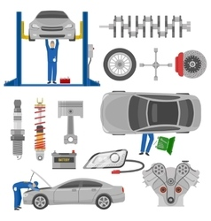 Car service decorative elements set vector
