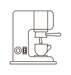 Silhouette coffee maker with porcelain cup vector