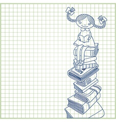 Schoolgirl sitting on the heap of books vector