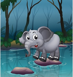 Elephant water crossing vector