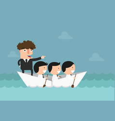 Businessmen rowing the boat teamwork success vector