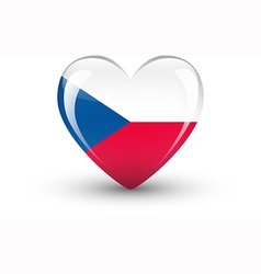 Heart-shaped icon with flag of the czech republic vector