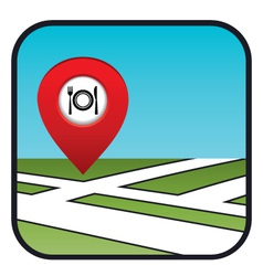 Street map icon with the pointer restaurant vector