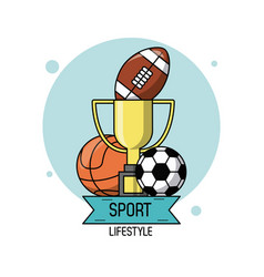 colorful poster of sport lifestyle with trophy and vector image