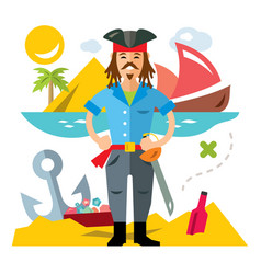 Pirate with saword flat style colorful vector