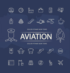 Aviation outline icons collection vector