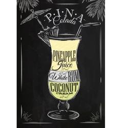 Pina Colada cocktail chalk vector image