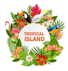 Tropical birs and flowers vector image