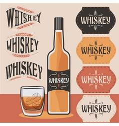 Retro collection of whiskey bottleglass of whiskey vector