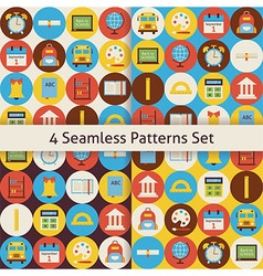 Four flat seamless back to school patterns set vector