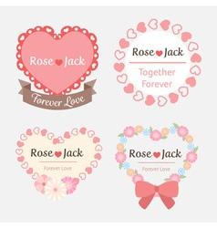 Cute pastel romantic wedding heart shape label vector