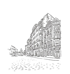 Antique european street sketch vector