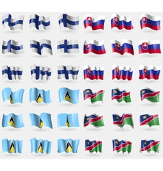 Finland saint lucia namibia set of 36 flags of the vector