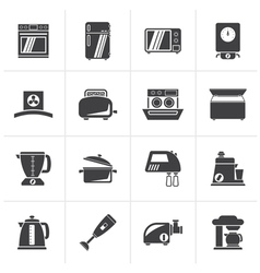 Black kitchen appliances and equipment icons vector