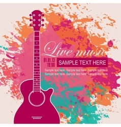Banner with an acoustic guitar vector