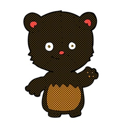Comic cartoon little black bear waving vector
