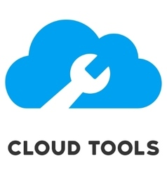 Cloud tools flat icon with caption vector