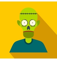 Zombie flat icon with shadow vector image