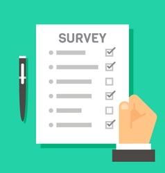 Flat design hand holding survey test paper vector image