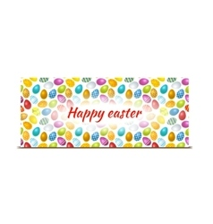 Happy easter bright banner with colourful eggs vector