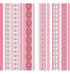 Seamless striped pattern with floral motif vector