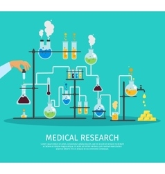 Colored chemistry lab flat poster vector
