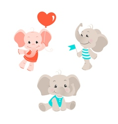 Baby elephant cartoon characters set vector