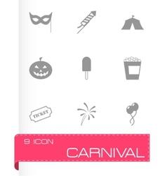 Black carnival icon set vector