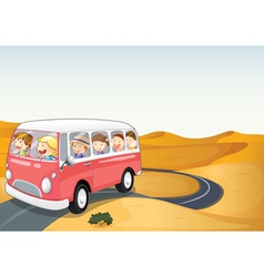 bus in a desert vector image vector image