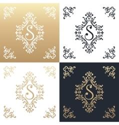 Calligraphic design element golden brand vector