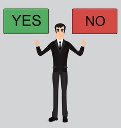 cool businessman character between yes or no vector image