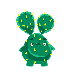 Cute cactus with a troubled face cartoon emotions vector