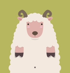 Cute fat big brown horn sheep vector
