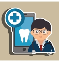 Doctor cellphone and tooth isolated icon design vector