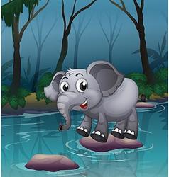 Elephant water crossing vector