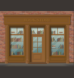 Facade of bookstore front view vector
