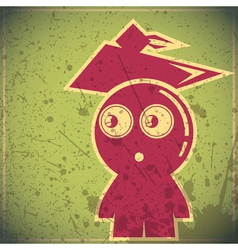 Funny student on grunge background vector image vector image