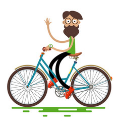 hipster man riding retro bike isolated on white vector image