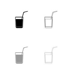 juice glass with drinking straw set icon vector image vector image