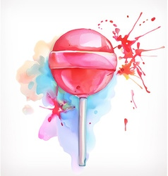 Lollipop candy watercolor painting isolated on vector image vector image