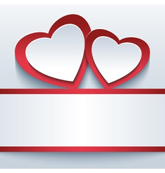 Love grey background with two 3d hearts vector image vector image