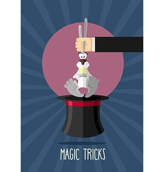 Magic trick magician holding rabbit by ears rabbit vector