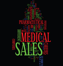 Medical supply sales careers text background word vector