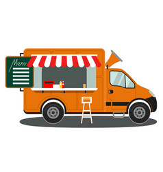 orange food truck side view menu coffee white vector image vector image