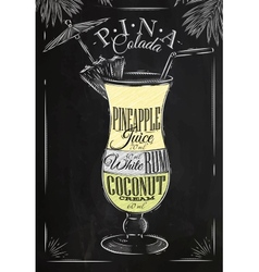 Pina Colada cocktail chalk vector image
