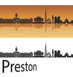 Preston skyline in orange background vector image vector image