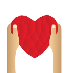 Red heart abstract as low poly on hand vector image vector image