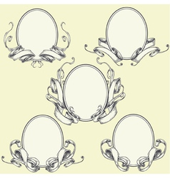 Ribbon frame and border ornaments vector image vector image
